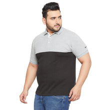 bigbanana Darwin Grey Colourblocked Polo Collar T-shirt