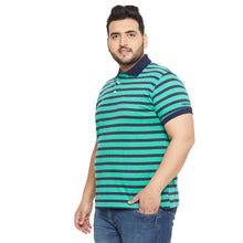 bigbanana Mudgee Sea Green Striped Polo Collar T-shirt