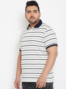 bigbanana Duncan White & Black Striped Polo Collar T-shirt