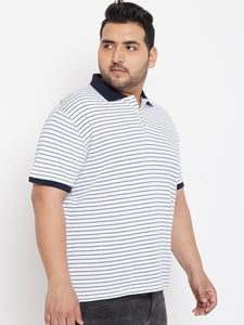 bigbanana Dudley White & Navy Blue Striped Plus SIze Polo Collar T-shirt