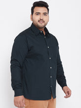 bigbanana Callen Navy Blue Classic Regular Fit Printed Plus Size Casual Shirt