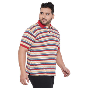 bigbanana Stirling Yellow Striped Polo Collar Bio Finish T-shirt