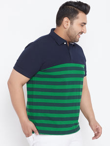 bigbanana Adley Men Blue & Green Striped Polo Collar T-shirt