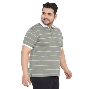 bigbanana Woolmer Olive Green & White Striped Bio Finish Polo Collar T-shirt