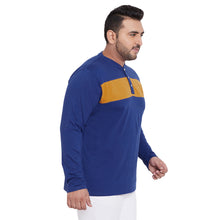 bigbanana Wales Royal Blue Colorblocked Henley Neck T-shirt