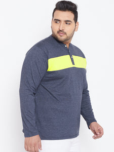 bigbanana Texas Navy Blue & Yellow Solid Plus Size Henley Neck T-shirt