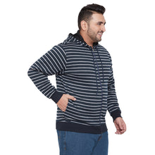 bigbanana Canterbury Navy Blue & Grey Striped Antimicrobial Hooded Sweatshirt