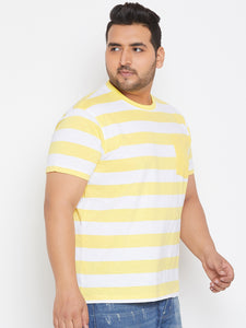 bigbanana Delbert White & Yellow Striped Plus Size Round Neck T-shirt