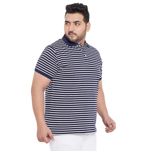 bigbanana Titan Navy Blue & White Striped Polo Collar Bio Finish T-shirt