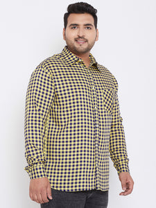 bigbanana Campbell Yellow & Blue Regular Fit Checked Plus Size Casual Shirt