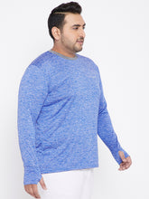 bigbanana Adrian Blue Melange Full Sleeves Round Neck TShirt