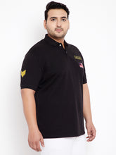 bigbanana Military Black Plus Size Polo T-Shirt