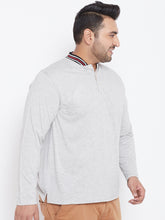 bigbanana Zak Grey Melange Solid Mandarin Plus Size Collar T-shirt