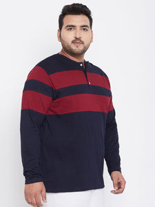 bigbanana Antonio Navy Colorblock Henley Neck T-shirt