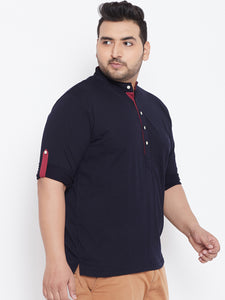 bigbanana Warren Navy Blue Solid Henley Neck T-shirt