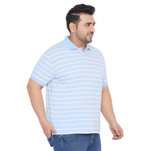 bigbanana Edrich Sky Blue Striped Polo T-Shirt
