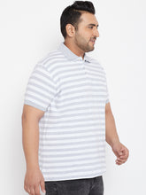 bigbanana Donnie White & Grey Striped Plus Size Polo Collar T-shirt