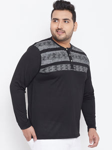 bigbanana Terrino Black & Grey Colourblocked Henley Plus Size Neck T-shirt