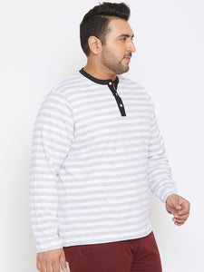 bigbanana Conrad White & Grey Striped Plus SIze Henley Neck T-shirt