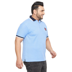 bigbanana Taree Blue Striped Polo Collar T-shirt