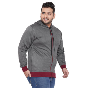 bigbanana Ely-DK Grey Melange & Maroon Solid Antimicrobial Hooded Sweatshirt