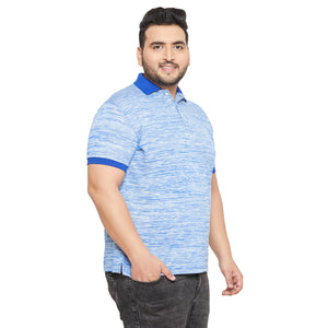 bigbanana Victor Blue Solid Polo Collar Bio Finish T-shirt