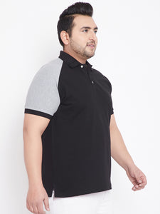 bigbanana Edward Black Colorblock Plus Size Polo Collar T-shirt