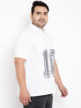 bigbanana Military White Printed Polo Plus Size T-Shirt