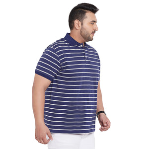 bigbanana Derry Navy Blue & White Striped Polo Collar Bio Finish T-shirt