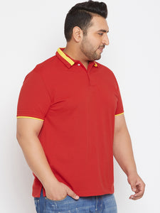 bigbanana Arizona Red Solid Plus Size Polo Collar T-shirt