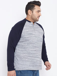 bigbanana Tod White & Black Striped Plus Size Henley Neck T-shirt