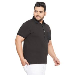 bigbanana AustinB Black Solid Polo Collar T-shirt