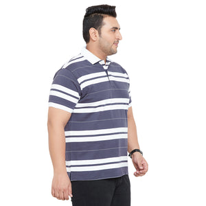 bigbanana Peter Purple Striped Polo Collar T-shirt