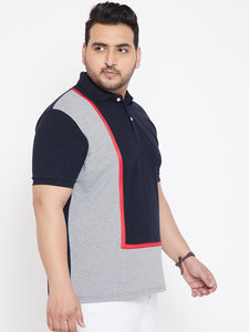 bigbanana Madrid Coloblocked Plus Size Polo T-Shirt