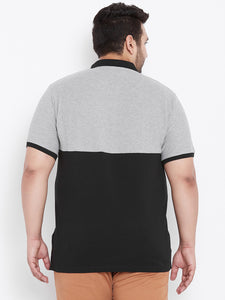 bigbanana Logan Black & Grey Melange Colorblocked Polo Collar T-shirt - Bigbanana