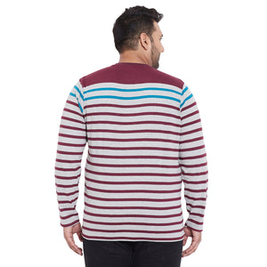 bigbanana Hereford Navy Blue Striped Henley Neck Bio Finish T-shirt