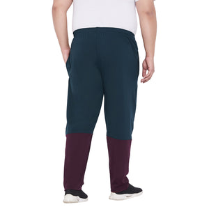 bigbanana Hector Teal & Maroon Colourblocked Antimicrobial Track Pants