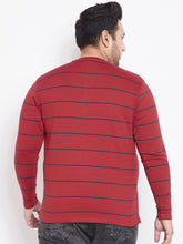 bigbanana Calvin Red Striped Henley T-Shirt