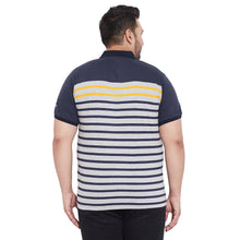 bigbanana Dundee Navy Blue & Grey Striped Polo Collar Bio Finish T-shirt