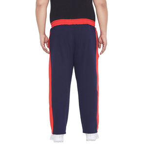 bigbanana Dyson Navy Blue & Orange Colourblocked Straight-Fit Antimicrobial Track Pants