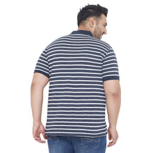 bigbanana Llyod Blue & White Striped Plus Size Polo Collar T-shirt
