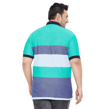 bigbanana Glasgow Green & Blue Striped Polo Collar Bio Finish T-shirt