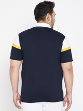 bigbanana Trinity Navy and White Plus Size Colorblocked Polo T-Shirt