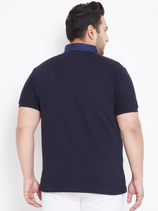 bigbanana Austin  Navy Blue Plus Size Solid Polo Collar T-Shirt