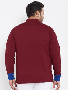bigbanana Acton Maroon Solid Henley Neck Plus Size T-shirt