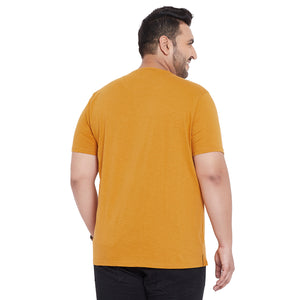 bigbanana Carlisle Mustard Yellow Solid Round Neck T-Shirt