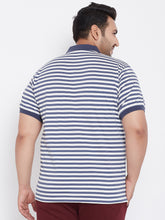 bigbanana Spanco Blue Striped Plus SIze Polo Neck T-shirt