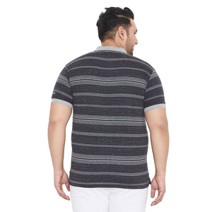 bigbanana Titmus Grey & White Striped Polo Collar Bio-Finish T-shirt