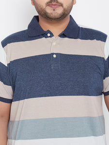 bigbanana Stanford Blue Striped Plus Size Polo Neck T-shirt