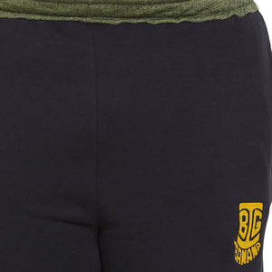 bigbanana Salford Black Solid Regular Fit Sports Shorts